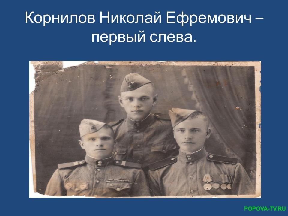 Корнилов Николай Ефремович – первый слева.